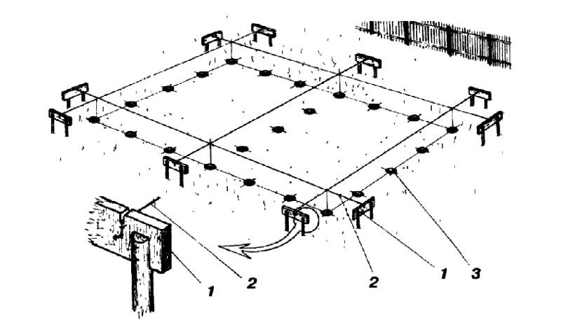Разметка и обноска свайного поля