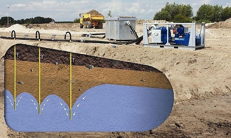 Откачка грунтовых вод вакуумным оборудованием