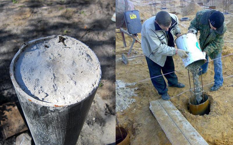 Заливка самодельной сваи бетонным раствором