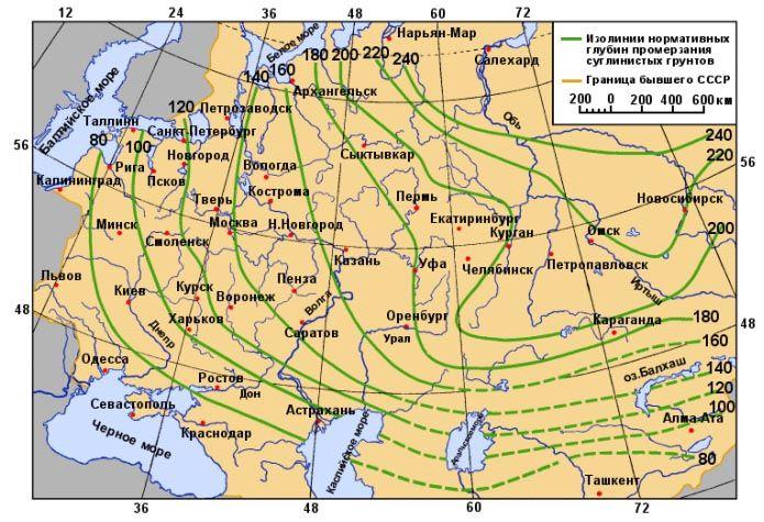 Карта промерзания почвы в различных регионах России