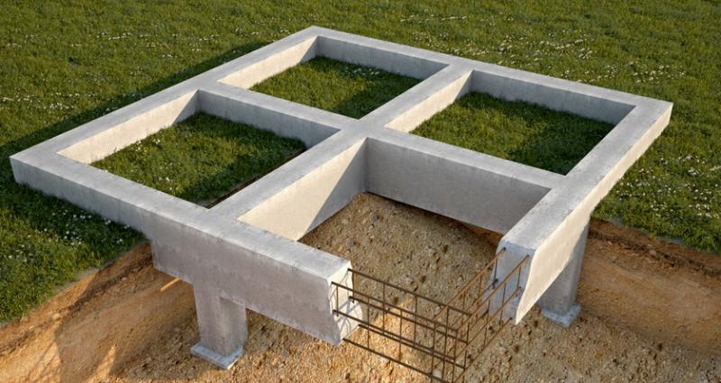 Монолитный ленточный фундамент Конструкция представляет собой полосу из железобетона, уложенную под несущие стены и колонны.