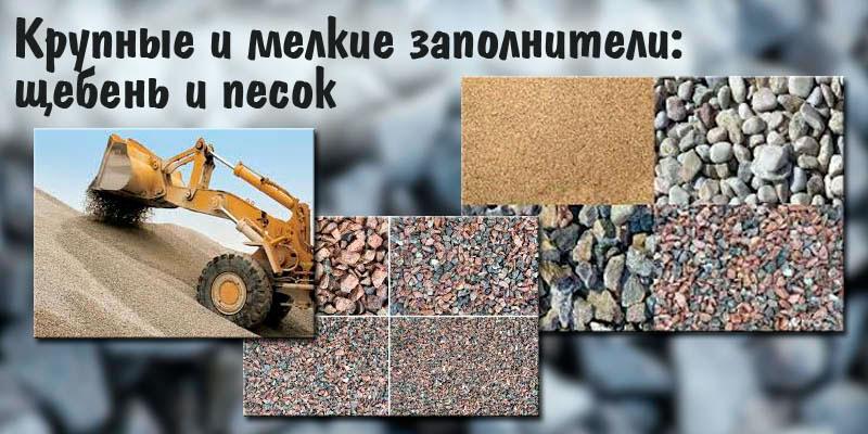 Мелкие и крупные заполнители для бетонного раствора