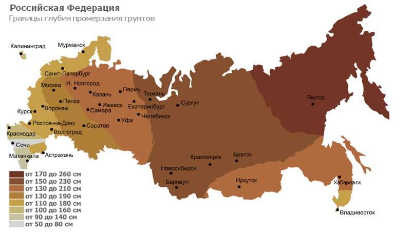 Глубины промерзания грунтов в различных регионах РФ