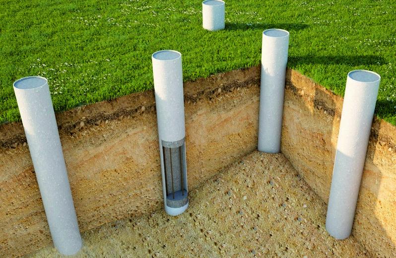 Столбчатый фундамент из асбестовых труб используется чаще всего.