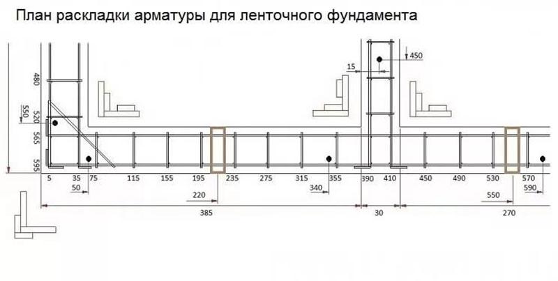 Схема раскладки арматуры