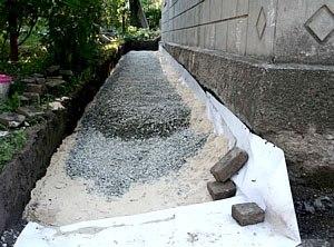 На гидроизоляцию укладывают слой щебня, глины и песка.
