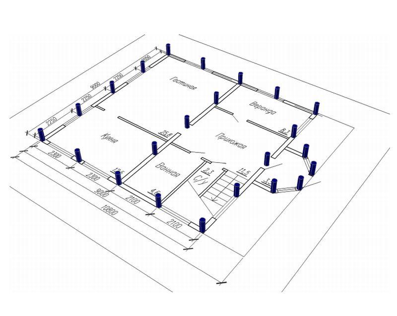 Пример расположения свайных опор под стенами