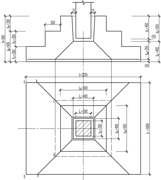 Схема образования пирамиды продавливания