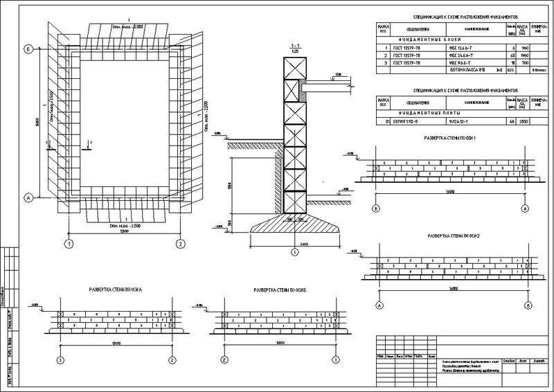 Чертеж ленточного сборного фундамента с выносным сечением и развертками для монтажа блоков.