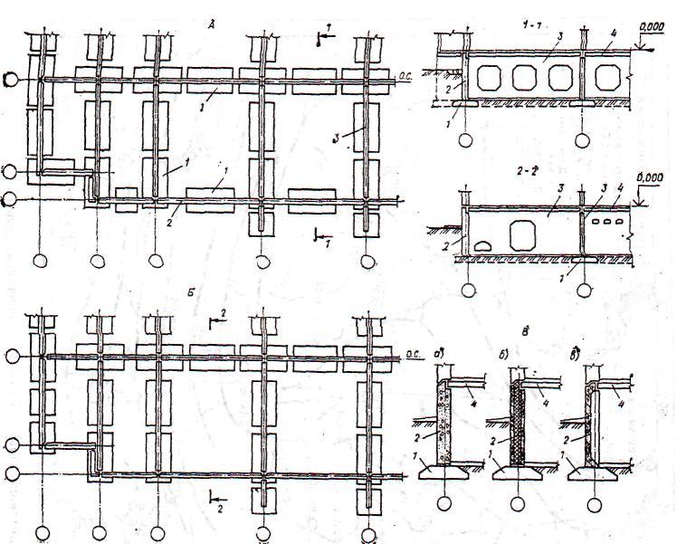 Схема ленточного сборного фундамента с дополнительными вынесенными изображениями.