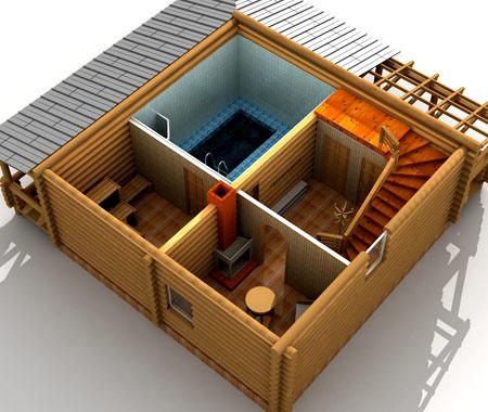 Схема размещения бани в подвале.