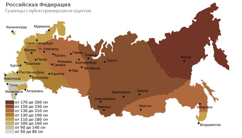 С помощью этой таблицы можно определить примерную глубину промерзания грунта в регионах России.
