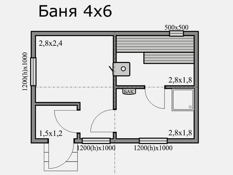 Проект бани с основанием 4 х 6 метров