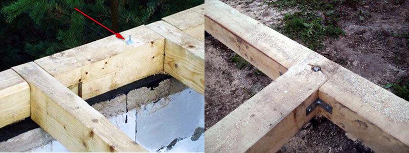 Варианты крепления деревянного фундамента к грунту