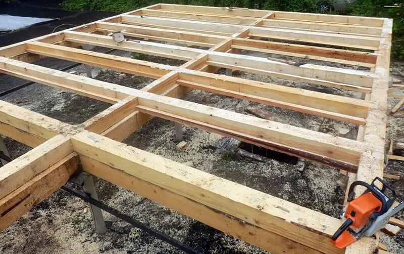 Деревянный фундамент из бруса в несколько рядов