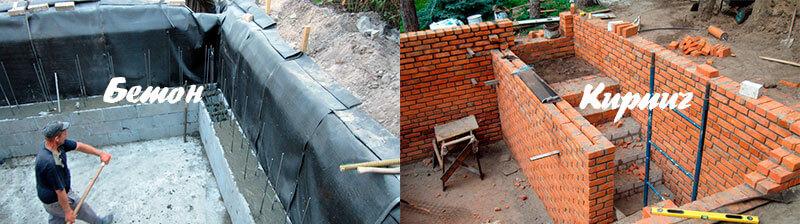 Кирпичные или бетонные стены погреба